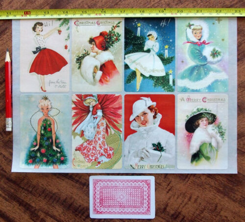 """Stickers 8pics 2.5/""""x3.5/""""each FLONZ Craft 441-0220 Vintage Christmas Girl Gift"""