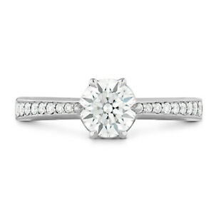 1.50 Ct Round Moissanite Engagement Ring 14K Proposal Solid White Gold Size 6