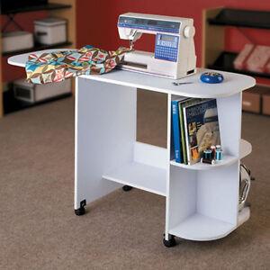 rolling sewing machine craft table drop leaf white folding desk storage shelves ebay. Black Bedroom Furniture Sets. Home Design Ideas