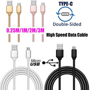 0.25M-3M HIGH SPEED Braided USB2.0 Micro USB/Type C Data Charger Cable Cord Lot