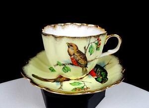 "TAYLOR & KENT LONGTON ENGLAND #357 BIRDS CURRANTS GOLD 2 1/2"" CUP & SAUCER 1950S"