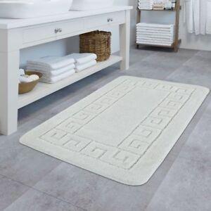 Détails sur Tapis De Bain Design Antidérapant Tapis Salle De Bain Avec  Bordure Blanc