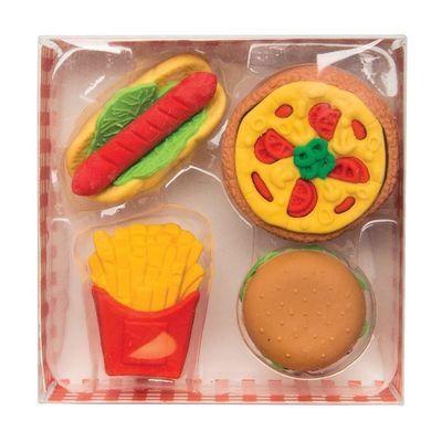 ERASE IT FAST FOOD ERASERS RUBBERS KIDS STATIONARY FUN SCHOOL BURGER HOTDOGS NEW