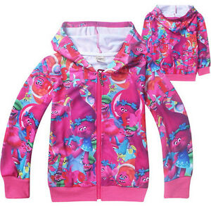 New girl Trolls zipped hooded jacket jumper cotton size3.4.5.6.7.8 yrs