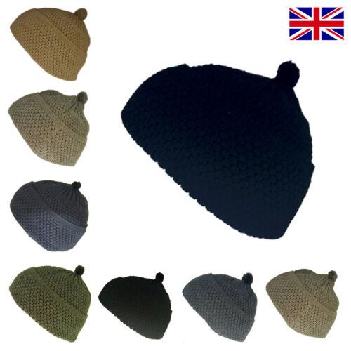 Woolly Beanie Knitted Black Grey Green Beige Navy Blue Cream Warm Ladies Mens