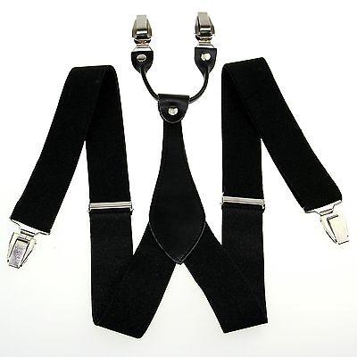 Unisex Black Suspenders Men Women Adjustable Belts Y-back Braces Clip-on BD605