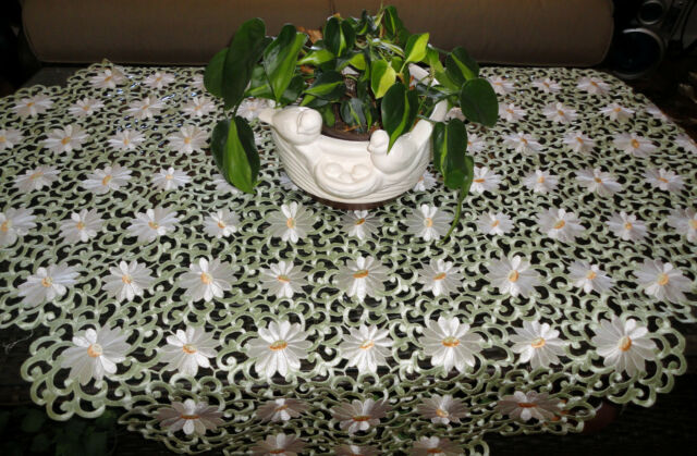 "IVORY PEDALS & SAGE Lace Doily  43"" SQ Table Topper Doily Daisy"