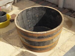 Half Solid Oak Wine Whisky Barrel Planters Garden Patio