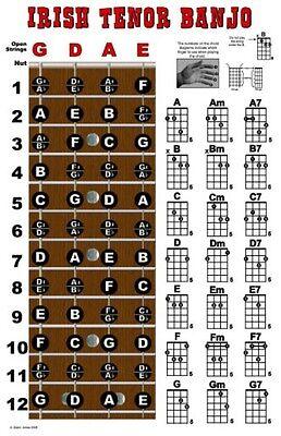Irish Tenor Banjo 4 String Fingerboard Poster Wall Chart Notes