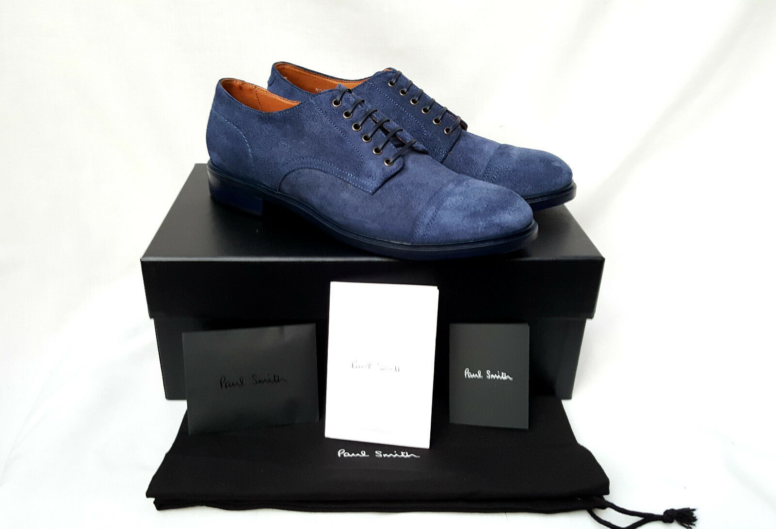 * Nuovo * Paul Smith Blu In Pelle Scamosciata Kirby Derby Scarpa () RRP