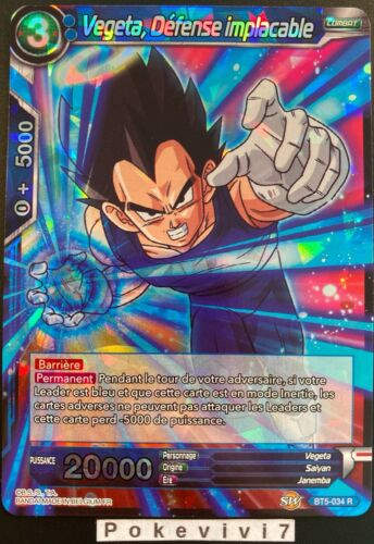 Carte Dragon Ball Super VEGETA DEFENSE IMPLACABLE BT5-034 R DBZ FR NEUF