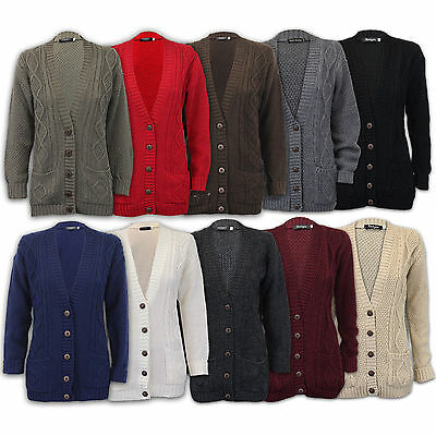 WOMEN PLUS SIZE LADIES CARDIGAN CHUNKY JACQUARD CABLE KNIT BOYFRIEND JUMPERS