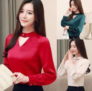 Formal Career Blouse Color Block Tie Long Sleeve Chiffon Slim Business Top Shirt