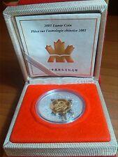 """CANADA - 15 Dollari 2001 argento """"Anno del Serpente"""" (placcata oro)"""