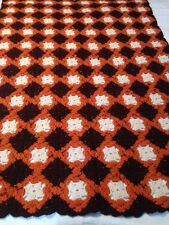 "Afghan Lap Throw Blanket Hand Made Retro Fall Autumn Colors 46""x 63"""