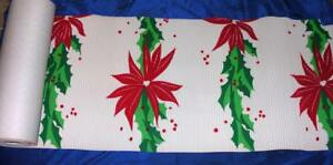 HUGE-1940s-VTG-CORRUGATED-PAPER-XMAS-POINSETTIAS-DISPLAY-TEX-STORE-BANNER-SIGN