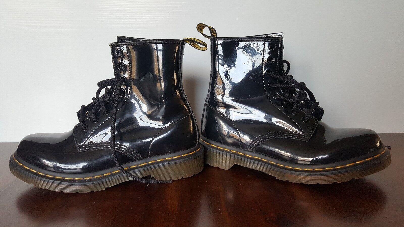Women's DR. MARTENS Black Patent Leather 8 Eye Lace Combat Combat Combat Boots 1460 W Sz 6L 6882c2