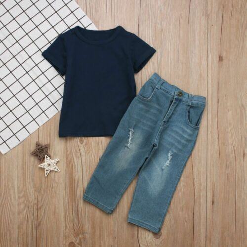 Hot Sale 2PCS Baby Boys Summer T-Shirt Tops Jeans Kids Casual Clothes Outfits