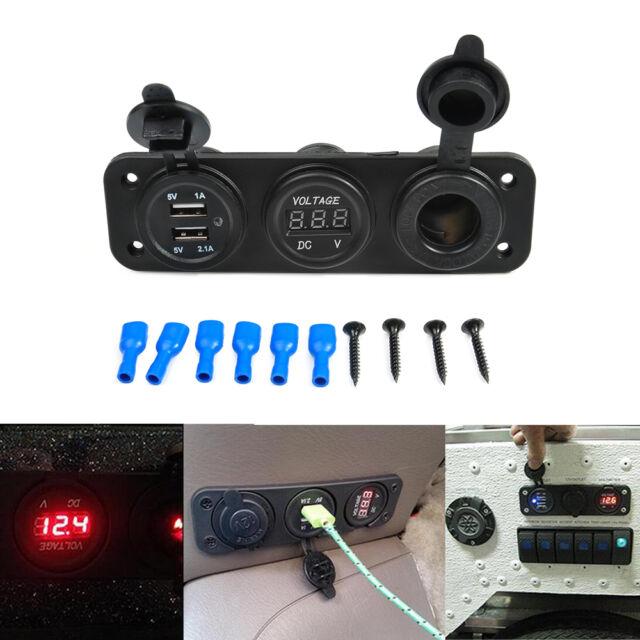 Black 3in1 Car Triple USB Charger Port + Voltmeter + Cigarette Lighter 12V