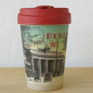 bamboo cup coffee to go becher vintage berlin brandenburger tor bambus kaff ebay. Black Bedroom Furniture Sets. Home Design Ideas