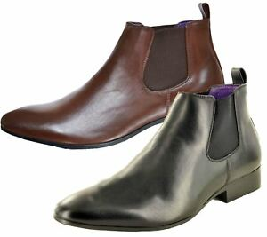 Mens-Chelsea-Boots-High-Top-Gusset-Synthetic-Leather-Shoes