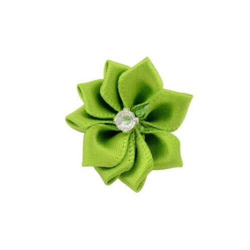 10 Baby Kids Satin Blume Haarschleife für Stirnband Haarspange Hochzeit ZP