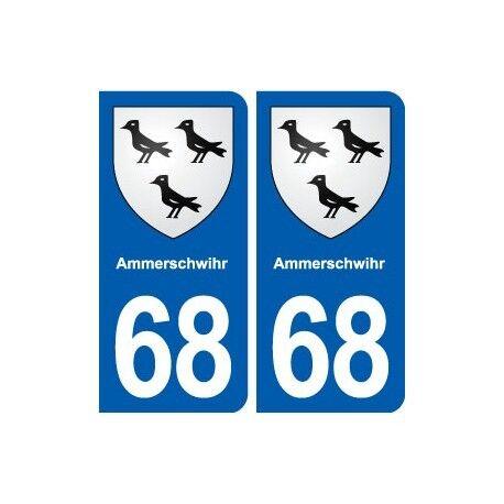 68 Ammerschwihr blason autocollant plaque stickers ville arrondis