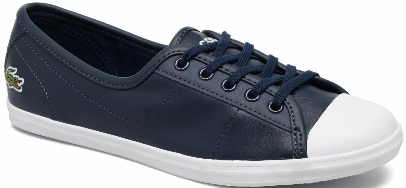 Lacoste Ziane Navy Blanc Leather Femme Trainers Chaussures
