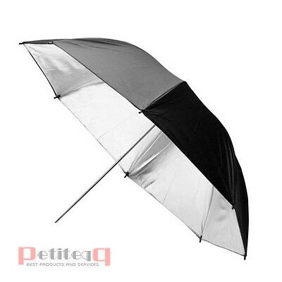 "33"" 84cm Photo Studio Silver Black Reflective Umbrella For Flash Light Speedlite"