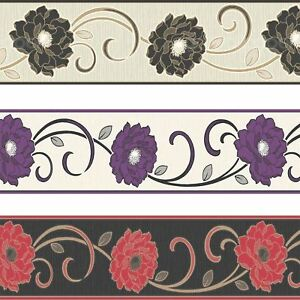 Florentina Wallpaper Border Textured Vinyl Fine Decor Flowers Floral