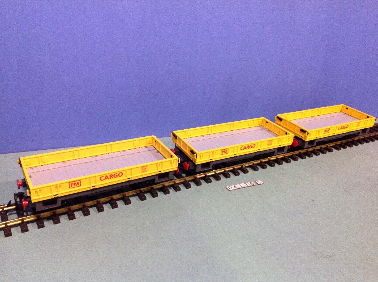 (O4126.5) playmobil lot 3 wagons plats gituttios ref  4126  vendita scontata