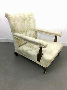 RARE-Antique-034-Holland-amp-Son-034-open-arm-chair-for-reupholstery-2230L
