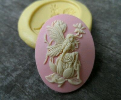 Beautiful FAIRY cameo SILICONE push mold mould polymer clay resin Sugar Craft