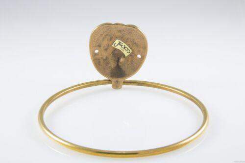 Vintage Golden Brass Lion Mane Head Hand Towel Holder Loop Ring Bathroom Dish