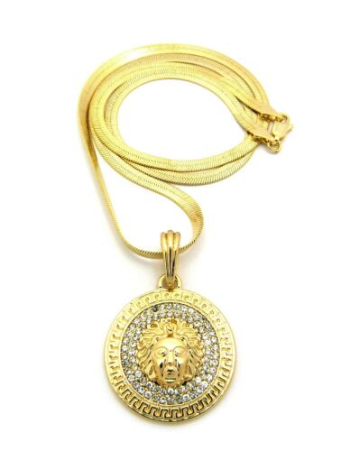 """RC601 NEW ICED OUT MEDUSA ROUND PENDANT /&4mm//24/"""" HERRINGBONE CHAIN NECKLACE"""