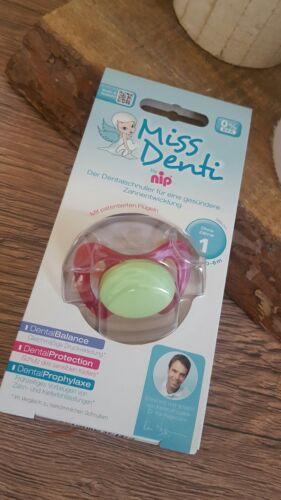 Neuf sous emballage Miss Denti Tétine Sucette Fille Rose Vert Taille 1 0-6 M Dental tétine *