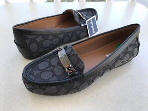 c965ce26c72 COACH Womens OLIVE Loafers Black Smoke Signature C Jacqrd Flats Size ...