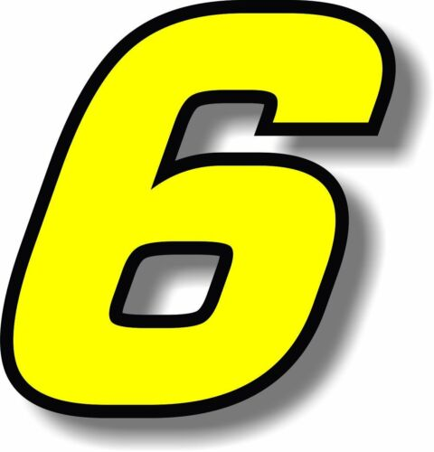 Yellow 2 inch race numbers with black border number sticker //vinyl//graphic Pair