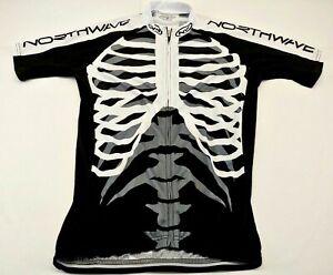 NORTHWAVE-Skeleton-Cycling-Jersey-sz-XL-black-white-skeleton-graphics-L