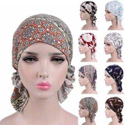 US Women Muslim Turban Cancer Chemo Cap Stretch Wrap Beanie Head Scarf Cover Hat