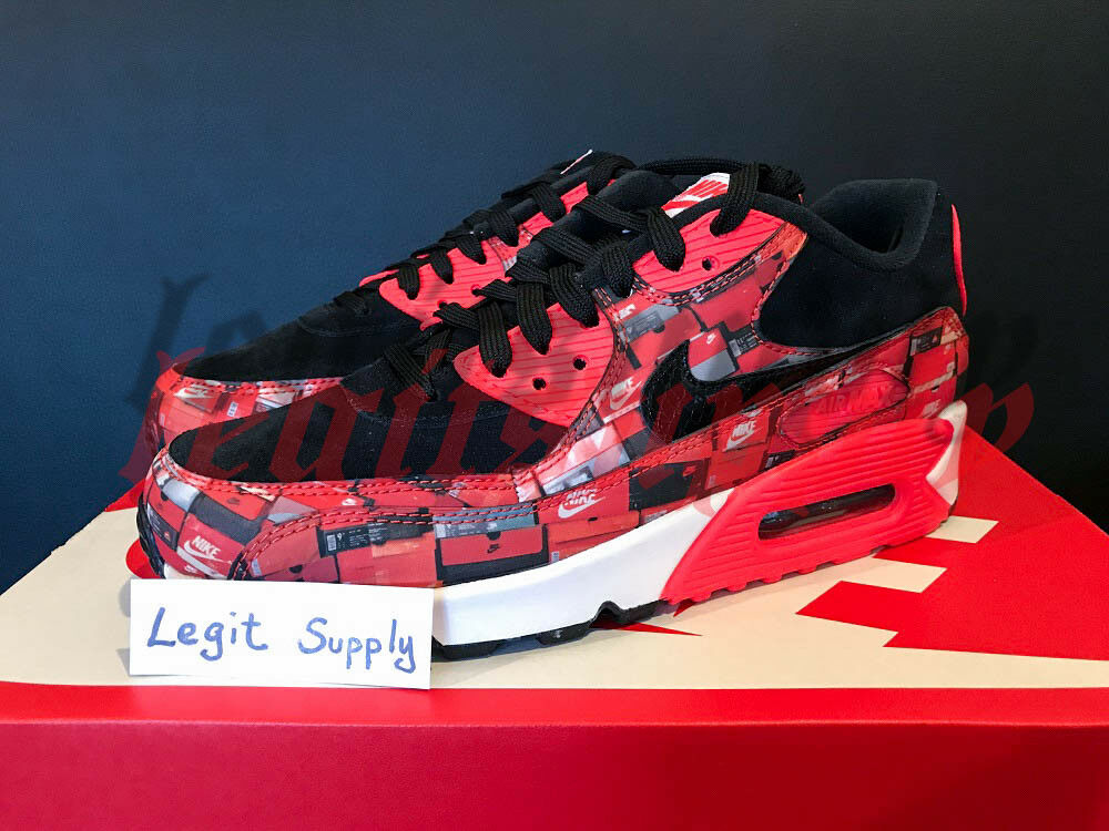 SHIP NOW Atmos Nike Air Max 90 Prnt We Love Nike 6-13 Black Infrared AQ0926-001