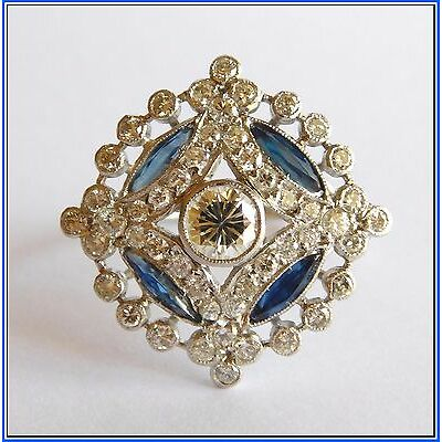 Platinum 1.40 Carats Modern cut Diamonds & Natural Blue Sapphires - Size 7¼