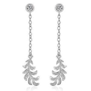 925-Sterling-Silver-Fashion-AAA-Zircon-Leaf-Tassel-Ear-Stud-Drop-Earrings