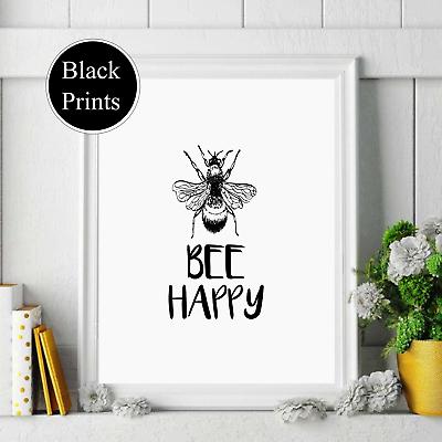 Bee happy  black text Wall Print  Decor Wall Art