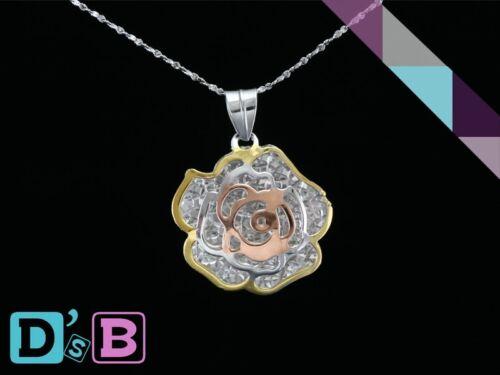 Magnifique Rose Ajourée Sculpture Fleur 925 Sterling Argent Pendentif pierres fines