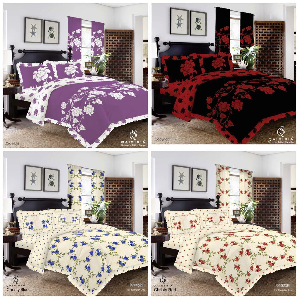 Richmond Red Frilled Duvet Set Quilt Cover Pillow Cases or Matching Curtains