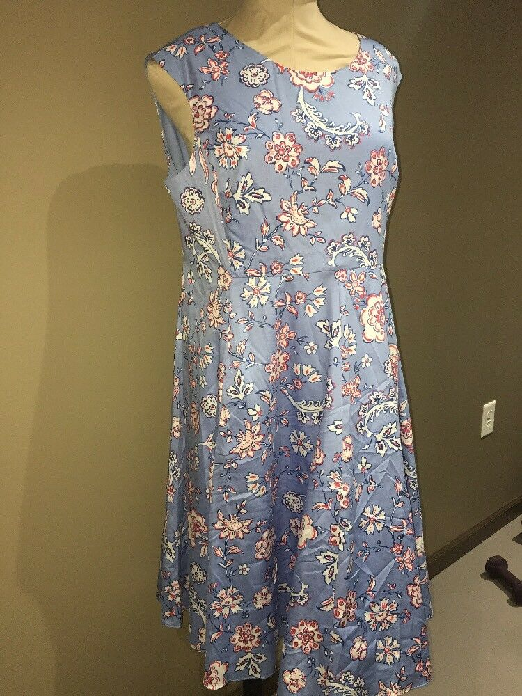 Joules Women's Amelie Fit and Flare Dress bluee Indienne Floral NWT Size 12