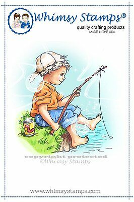 Whimsy Stamps - Cling Mounted Rubber Stamp - Fishing Boy