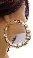 HUGE 3.5 inch HOOP EARRINGS Bamboo earrings - Old School GOLD TONE BAMBOO HOOPS