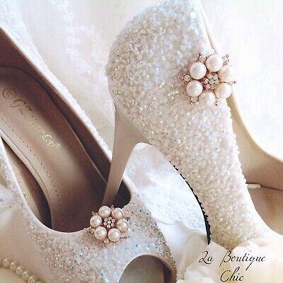 Con Strass E Perla Rose Gold Tone Shoe Clips Pageant Sposa Nuziale-mostra Il Titolo Originale